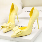 Womens Sweet Bow-knot High Heel Stiletto Shallow Mouth Pointed Side Hollow Shoes