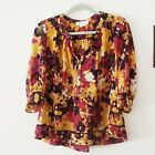 Staring at Stars Urban Outiftters Fall Floral Sheer Button Front Blouse Sz Small