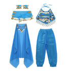 Kids Girls Belly Dance Outfit Costume India Dance Clothes Tops+Skirt Folk Dance