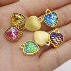 Heart Flatback Resin Charms One Side Mermaid Fish Scale Pendant DIY Necklace