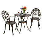 European Style Cast Aluminum Outdoor Dining Table Table And Chair 3 Piece-Sets