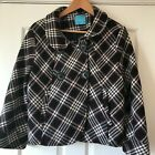 Ladies Aphorism (Athropologie) short black check jacket double breasted size 16