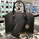 Michael Kors Ciara Large Satchel Saffiano Leather Bag Black Wallet Set