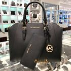 Michael Kors Ciara Large Satchel Saffiano Leather Bag Black Wallet Set image
