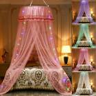 5 Colors Princess Lace Round Dome Mosquito Net Mesh Bed Canopy Bedroom Decor US image