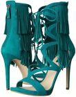 GUESS Abria Fringe Tassel Ghillie Open Toe Sandal Teal Green Suede NEW Sz 6