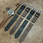 Size 18/20/22mm Military Ridged Style Oiled Cow Leather Watch Strap Band #144A image