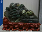 """16"""" China Natural Dushan Green Jade Carved Pine Tree People Mountain Statue"""