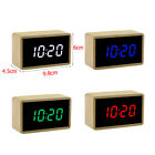 Digital Wooden Mirror Alarm Clock Cube Desk Thermometer with LED Display GOOD#ur