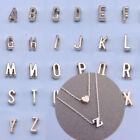 925Silver Gold Love Heart Women Initial 26 Letters Charm Choker Pendant Necklace