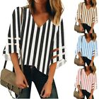 Women's V Neck Striped Mesh Panel Blouse 3/4 Bell Sleeve Loose Top Shirt HY