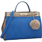 Dasein Padlock and Decorative Pompom Satchel 2 Colors