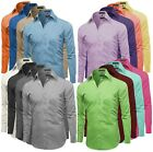 Omega Italy Mens Premium Slim Fit Button Up Long Sleeve Solid Color Dress Shirt