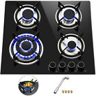 "Tempered Glass 2-5 Burners Built-In Stove Gas Cooktop 12""~36"" Black For Kitchen photo"