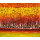 """Autumn Birch"" Abstract Impressionism Forest Trees Canvas Oil Painting Wall Art"