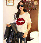 Plus Size Women Lady Loose Tops Blouse Short Sleeve T-Shirt Lips Print Summer