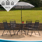 Outdoor Dining Set With Umbrella Folding Table And Chairs Garden Patio Furniture