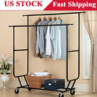 Heavy Duty Rolling Clothes Rack Hanging Garment Double Bar Durable Dry Hanger US
