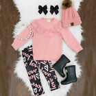 US Stock Newborn Kids Baby Girls Tops T shirt Trousers Pants Outfits Set Clothes