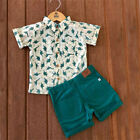 US Toddler Kid Baby Boy Button Shirt Short Shorts Pants Outfits Clothes Outfit