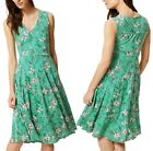 New Women Ex M&S Soft Floral Sleeveless Waisted Midi Dress Size 12-18 RRP £35