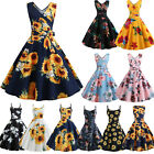 Women 50s 60s Vintage Retro Rockabilly Sunflower Holiday Party Swing Sun Dress