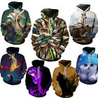 3D Fish Cat Animal Print Graphic Mens Long Sleeve Sweatshirt Hoodie Pullover Top