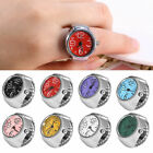 Colorful Women Finger Ring Watch Creative Steel Tone Round Elastic Quartz Dial image