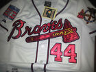 Brand New Majestic Atlanta Braves #44 Hank Aaron dual patch SEWN WHITE Jersey on Ebay