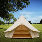 4-Season Bell Tent 3/4/5/6M Waterproof Cotton Canvas Glamping Camping Beach US
