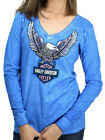Harley-Davidson Ladies Upwing Eagle Blue Cotton Long Sleeve V-Neck T-Shirt $14.99 AUD on eBay