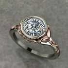 Two Tone 925 Silver & Rose Gold Ring Women White Sapphire Wedding Ring Size 6-10 image
