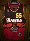 Dikembe Mutombo Atlanta Hawks jersey retro vintage black red  L on eBay