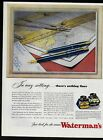 1944 WATERMAN'S INK 161 writing pen illustration map compass Vintage Print Ad