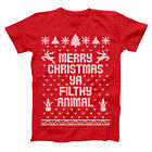 Merry Christmas Ya Filthy Animal Ugly  Sweater Retro Red Basic Men's T-Shirt