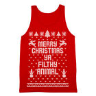 Merry Christmas Ya Filthy Animal Ugly Sweater  Contest  Retro  Cute Red Tank Top