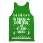 Merry Christmas Ya Filthy Animal Ugly Sweater Contest Retro Cute Green Tank Top