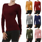 Womens Long Sleeve THERMAL CREW NECK Basic Top T-Shirt Layering Soft Warm Plain