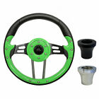 "Golf Cart Custom GREEN 13"" Steering Wheel EZGO CLUB CAR YAMAHA with Adapter"