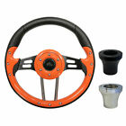 "Golf Cart Custom ORANGE 13"" Steering Wheel EZGO CLUB CAR YAMAHA with Adapter"