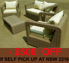 Brown Outdoor Setting Wicker Rattan Set Garden Lounge Sofa Furniture No Assembly