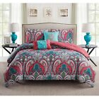 Coral Blue Green Paisley Damask 5 pc Comforter Set Bedding Twin Full/Queen King  image
