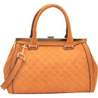 Dasein Quilted Barrel Satchel with Push-Up Closure