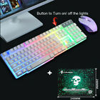 Rainbow Backlight USB Ergonomic Gaming Keyboard and Mouse Combo For PC Laptop