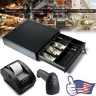 Cash Drawer Box Works Compatible ESC/POS Printers 4 Bill&2C Tray Barcode Scanner
