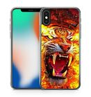 Fire Covered Sabre Toothed Majestic Roaring Angry Tiger Animal Phone Case Cover