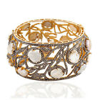 78.18ct Natural Pearl Bangle 925 Sterling Silver 14k Yellow Gold Jewelry
