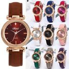 Women Leather Casual Watch Luxury Analog Quartz Fashion Crystal Dress Wristwatch image