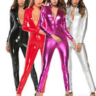 Latex Leather Shiny Glossy Bodysuit Zipper Open Crotch Romper Jumpsuit-Lingerie