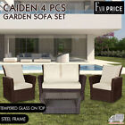 4 Pcs Caiden Garden Sofa Set Black Brown 2+1+1  Garden Table Outdoor Furniture